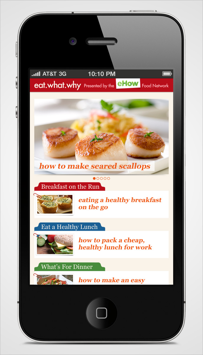Eat What Why Mobile Homepage