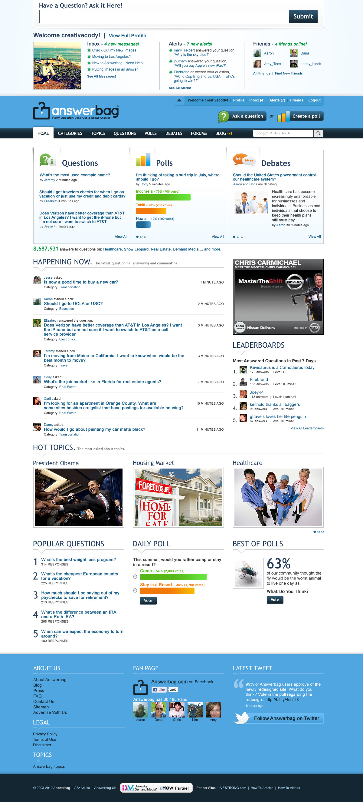 Answerbag User Generated Content Homepage