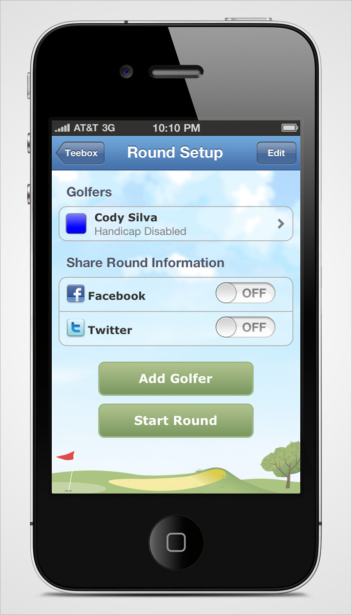 Golflink iPhone Round Setup