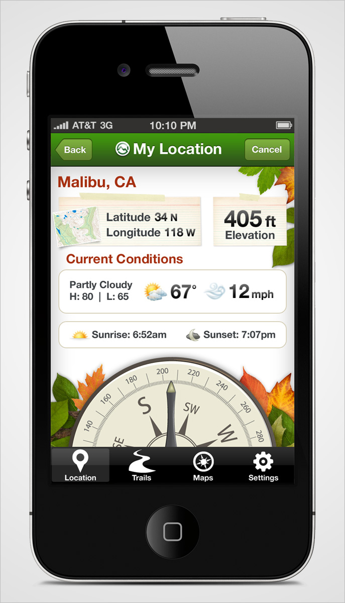 Trials iPhone App My Location Screen