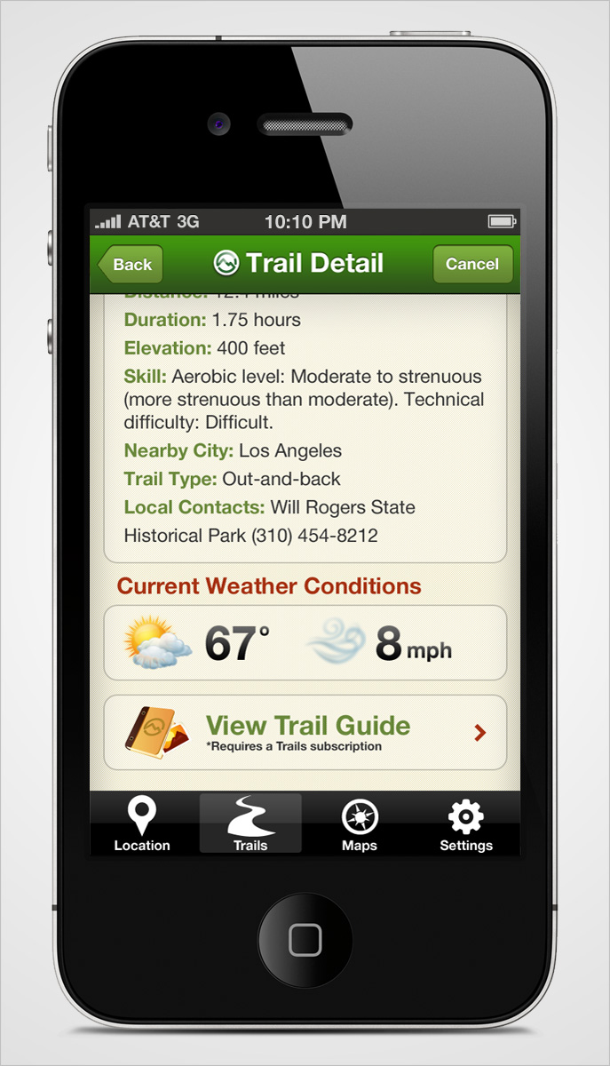 Trails iPhone App Trail Detail Page