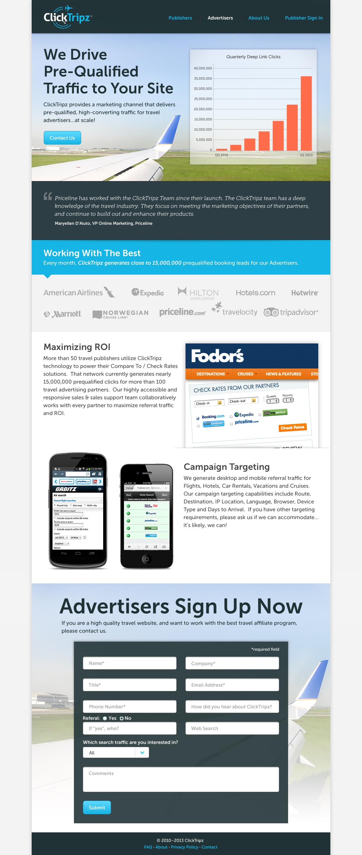 ClickTripz Advertiser Page