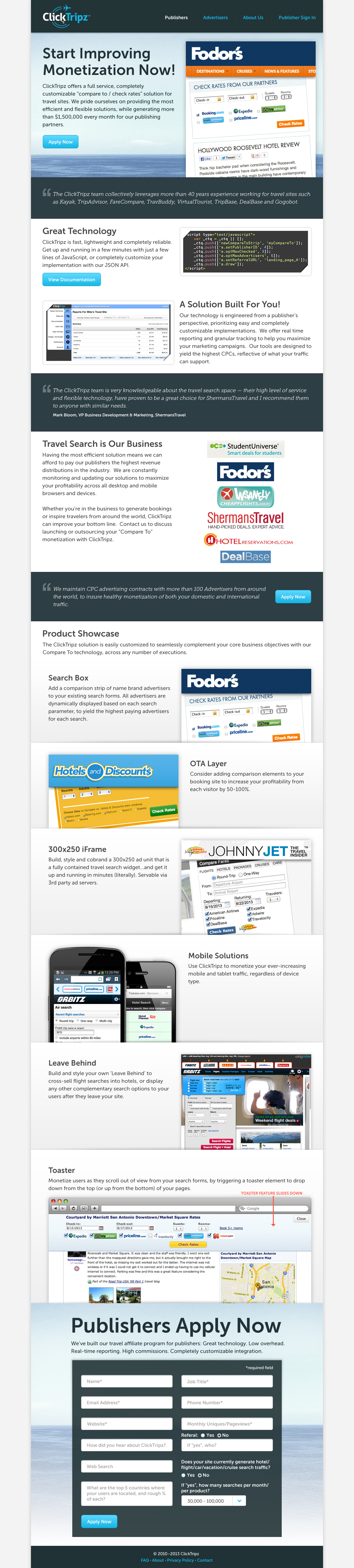 ClickTripz Publisher Page
